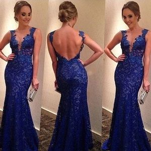 Blue Lace Overlay Mermaid Style Prom Dress